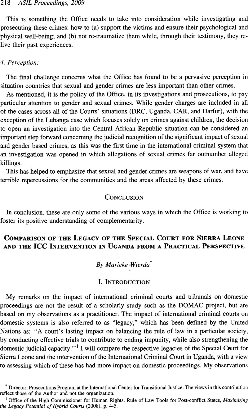 Practical Perspectives Positive Lives >> Comparison Of The Legacy Of The Special Court For Sierra Leone And