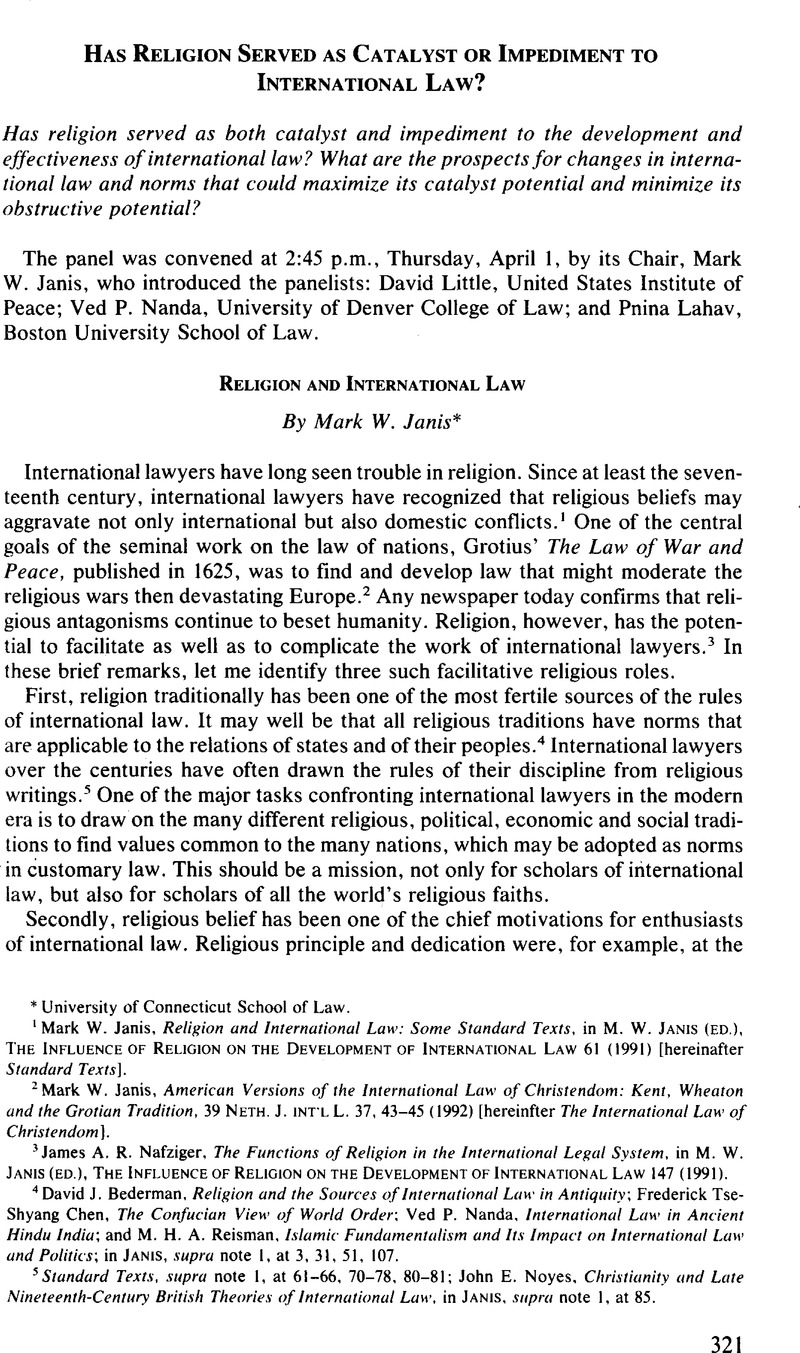 Religion and International Law