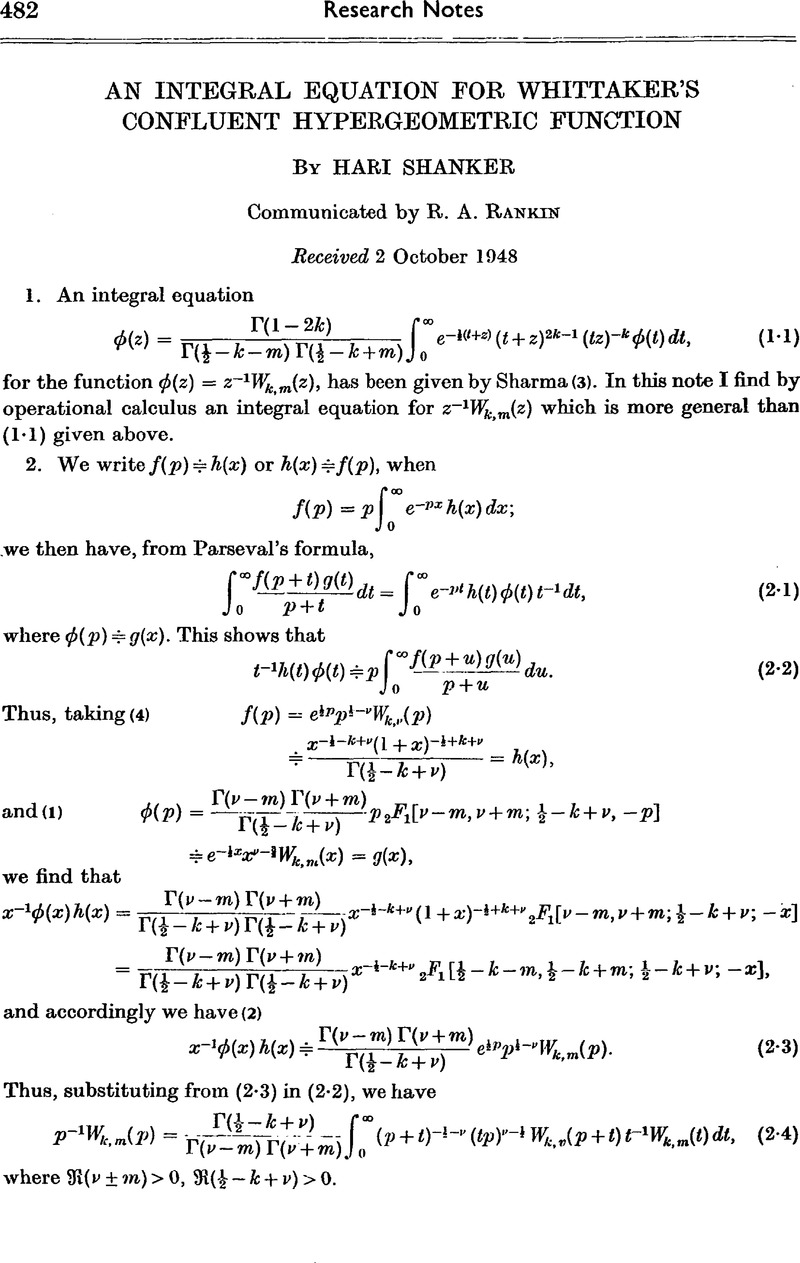 An integral equation for Whittaker's confluent hypergeometric