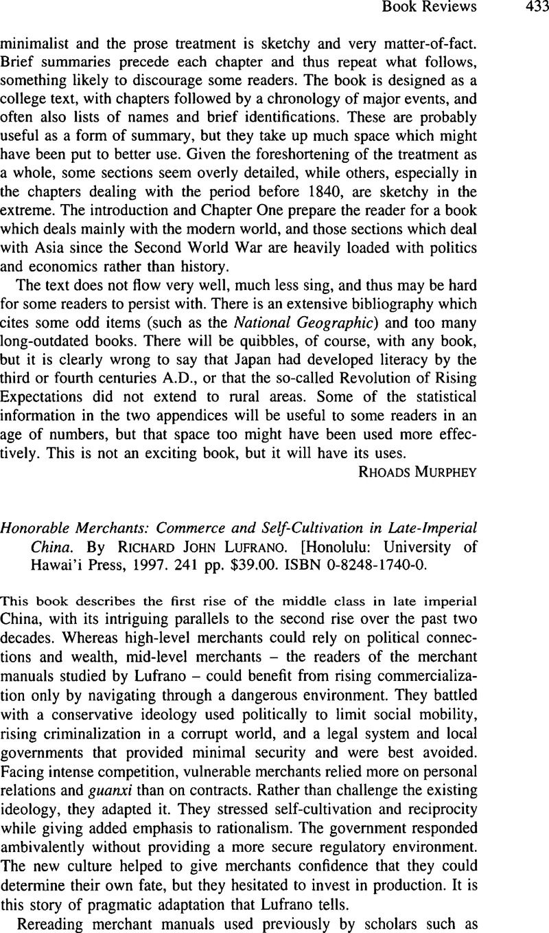 Commerce and Self-Cultivation in Late Imperial China Honorable Merchants