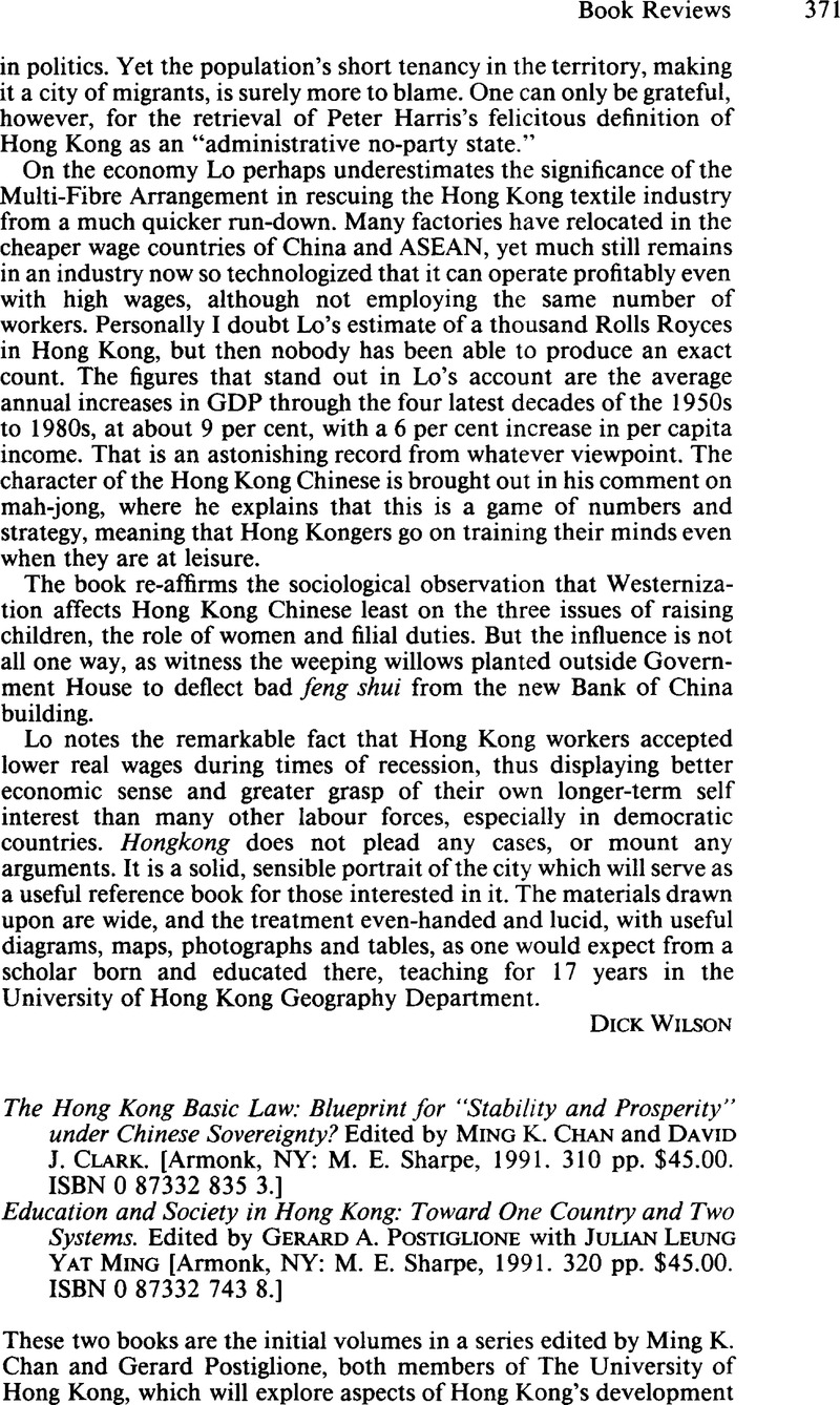 The hong kong basic law blueprint for stability and prosperity copyright malvernweather Gallery
