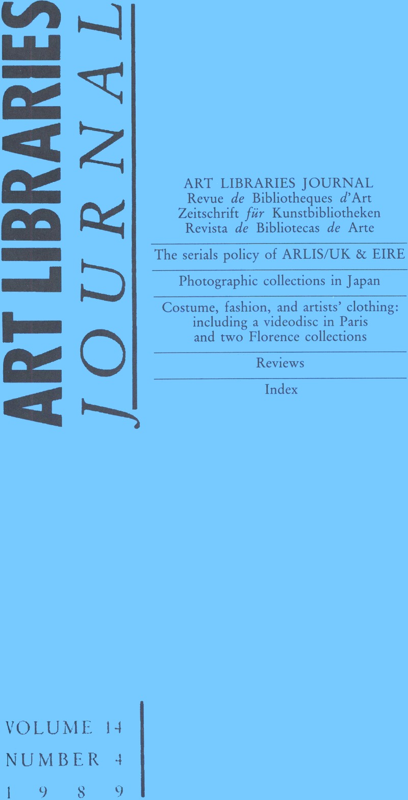 ALJ volume 14 issue 4 Cover and Front matter | Art Libraries