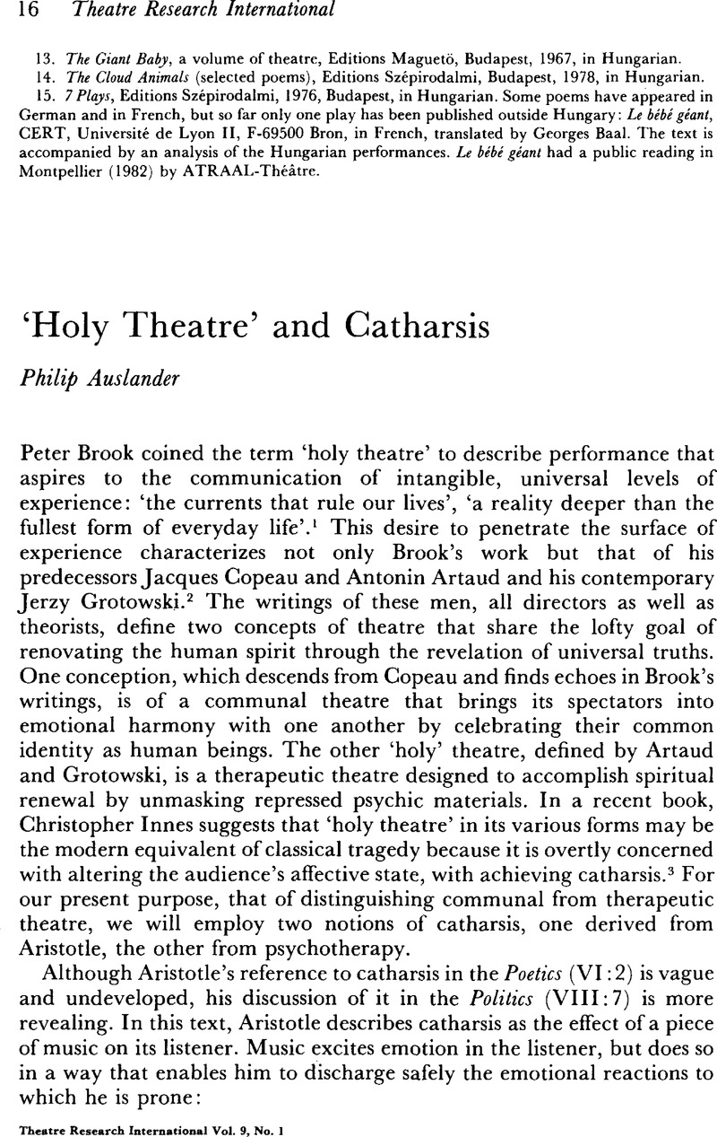 what is holy theatre