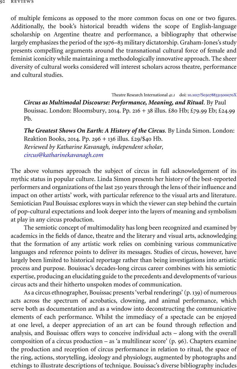 Circus As Multimodal Discourse Performance Meaning And Ritual By