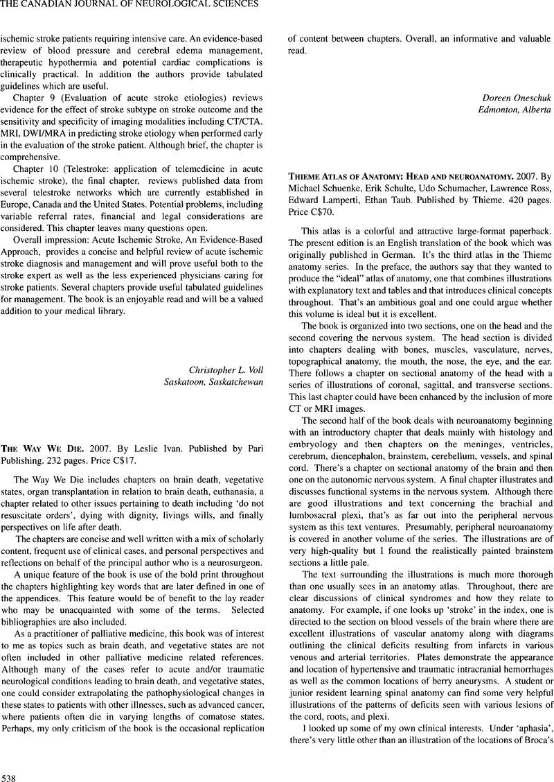 Thieme Atlas of Anatomy: Head and Neuroanatomy. 2007. By Michael ...