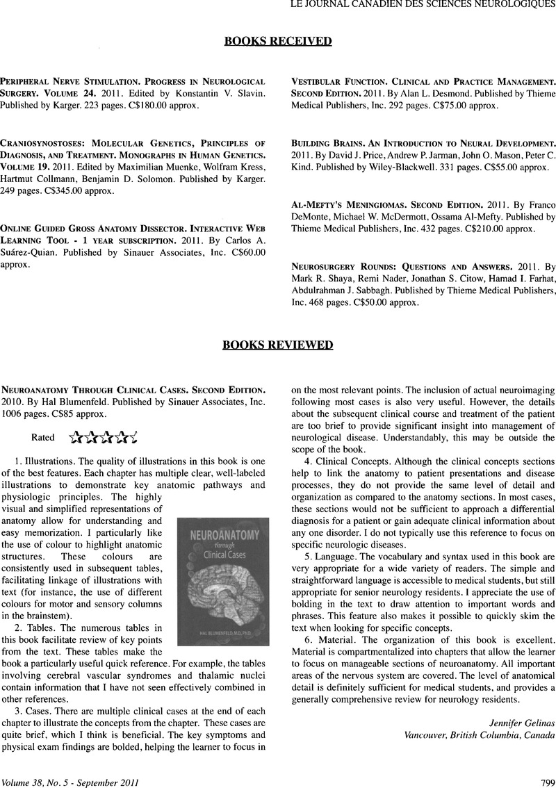 Books Reviews Neuroanatomy Through Clinical Cases Second Edition