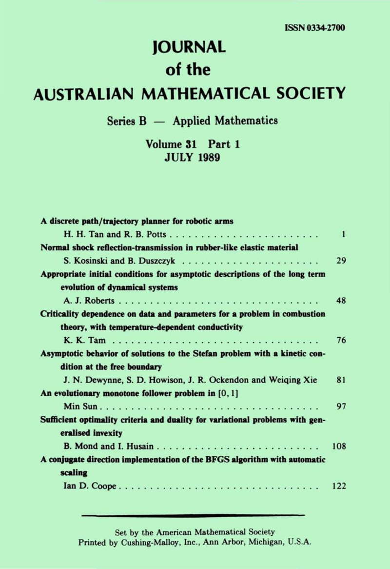 ANZ volume 31 issue 1 Cover and Front matter | The ANZIAM