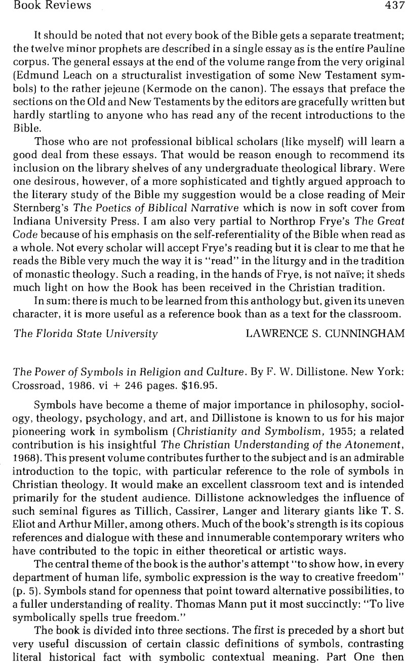 The Power Of Symbols In Religion And Culture By F W Dillistone