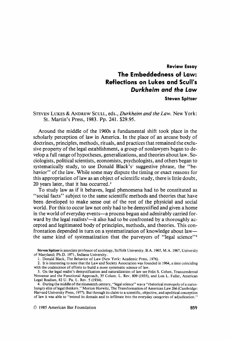 The Embeddedness of Law: Reflections on Lukes and Scull's
