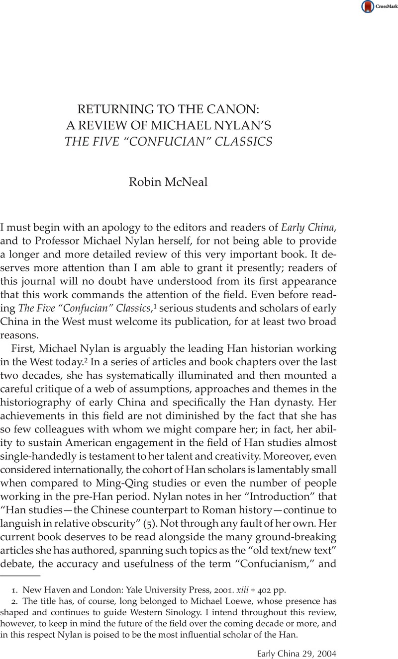 """Returning to The Canon: A Review of Michael Nylan's the Five """"Confucian""""  Classics"""