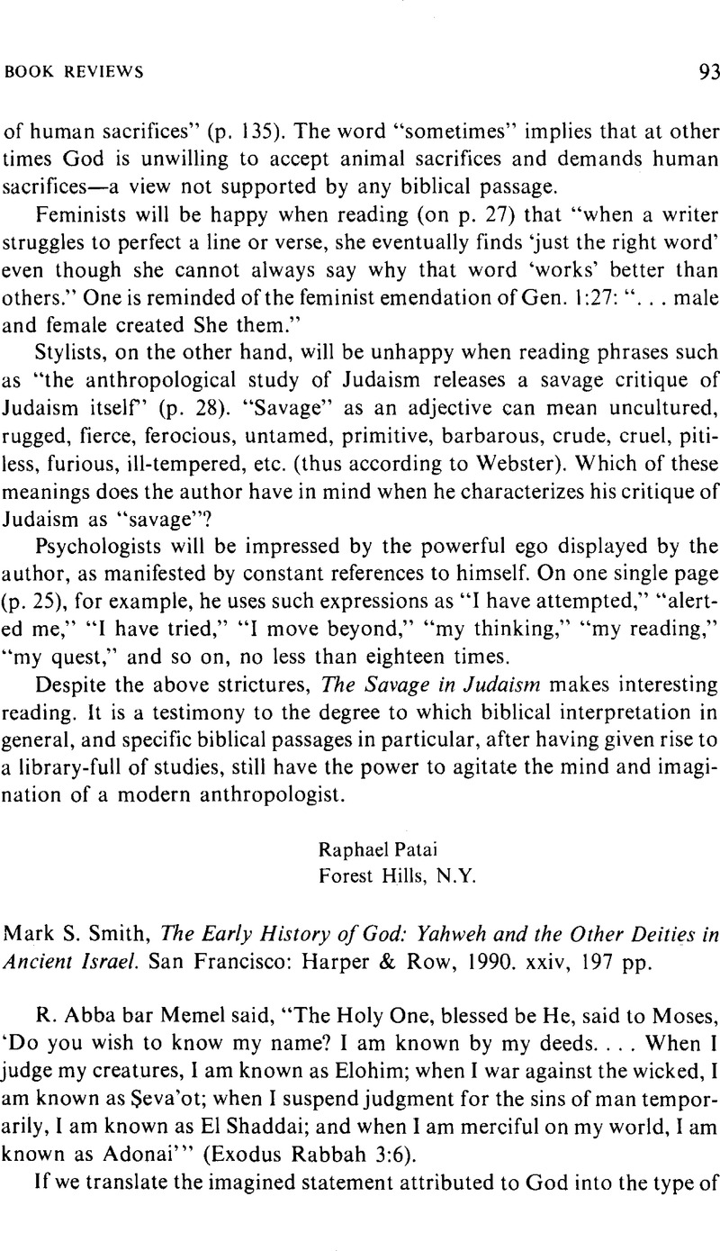 Mark S  Smith, The Early History of God: Yahweh and the Other