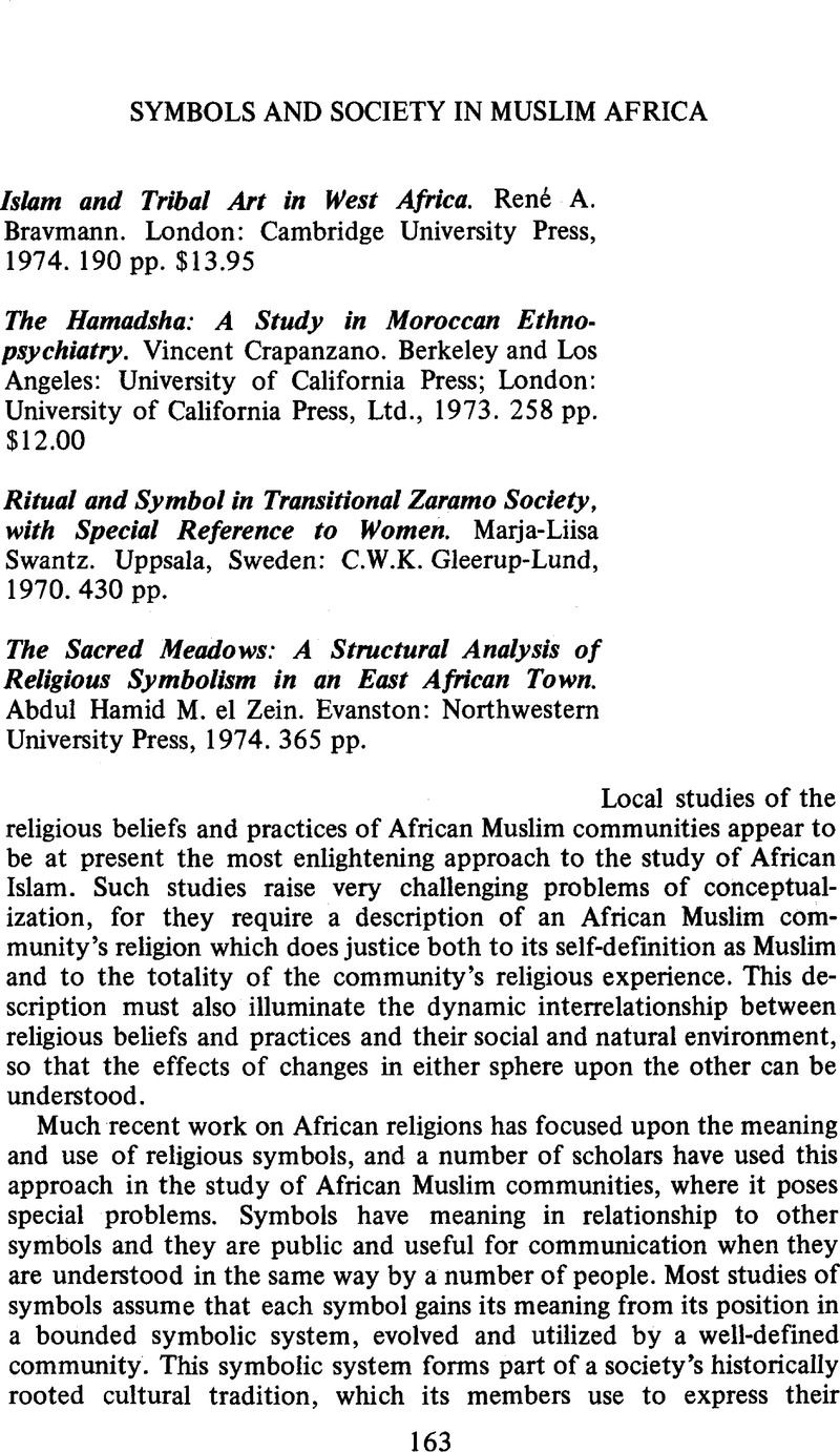 Symbols And Society In Muslim Africa Asa Review Of Books
