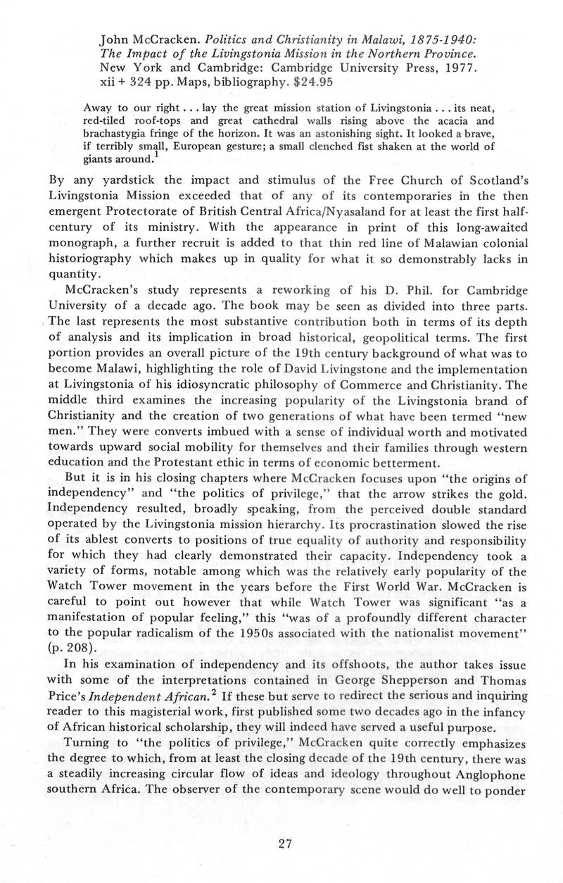 John McCracken  Politics and Christianity in Malawi, 1875-1940: The