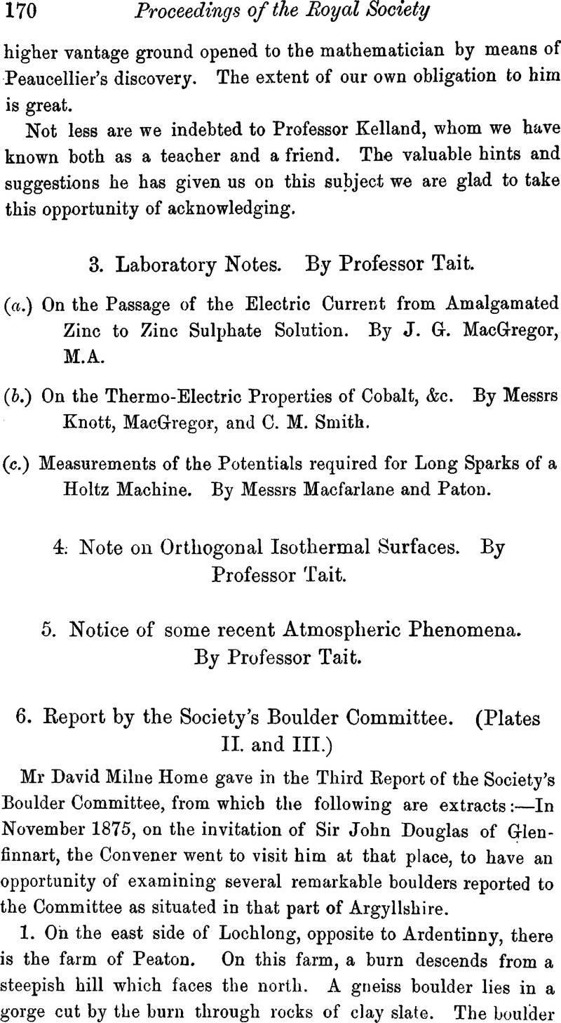 3 Laboratory Notes By Professor Tait A On The Passage Of Related Image With Current Electricity Electric From Amalgamated Zinc To Sulphate Solution