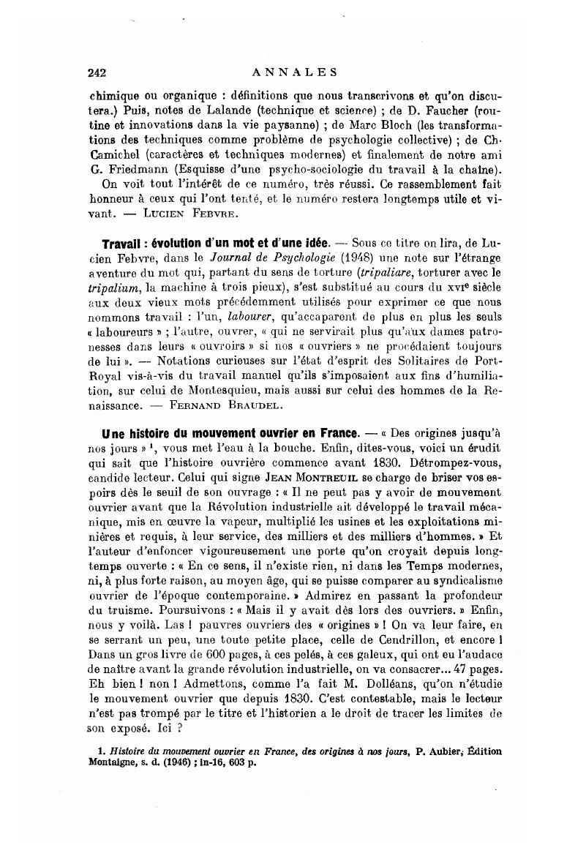 Travail Evolution D Un Mot Et D Une Idee Annales Histoire