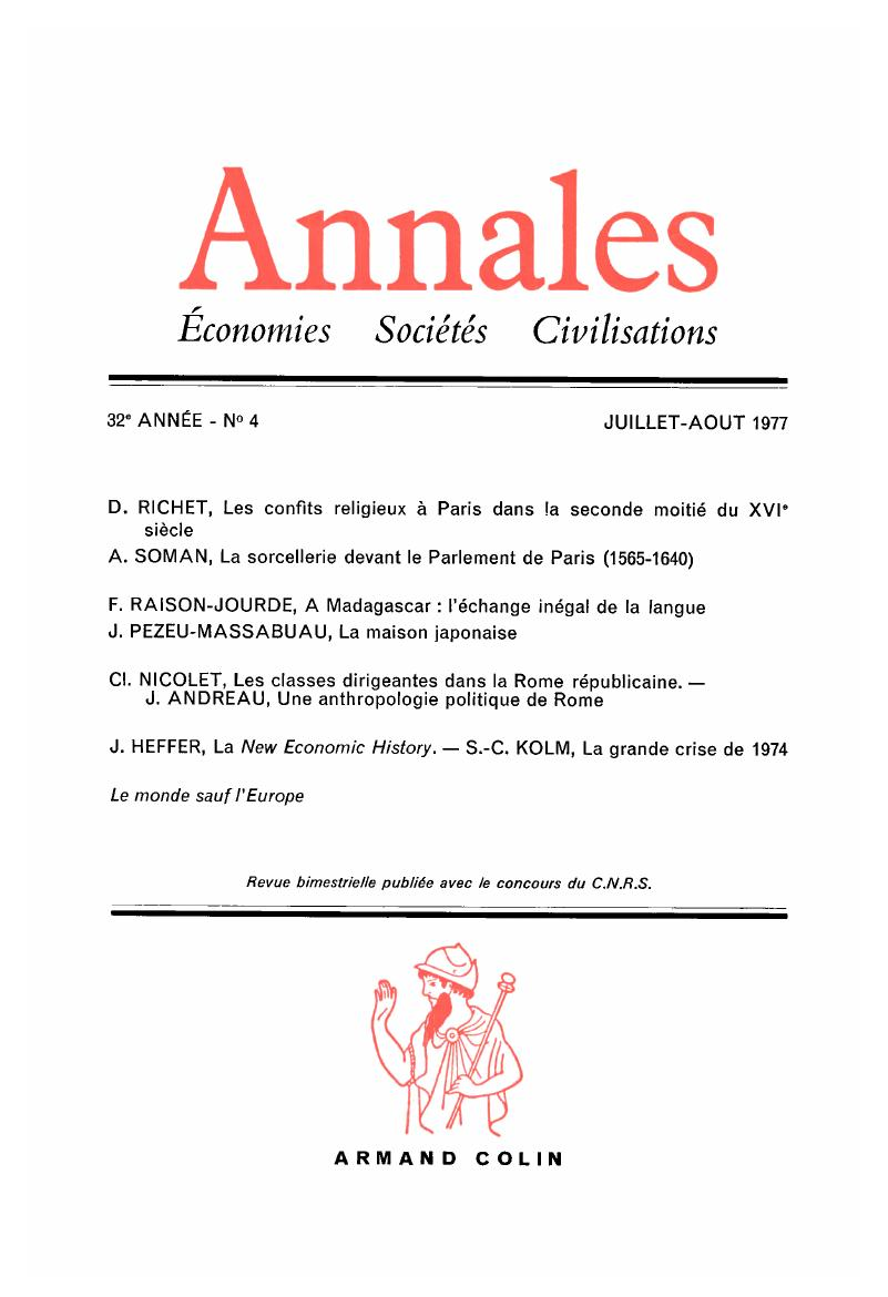 AHS Volume 32 issue 4 Cover and Front matter | Annales