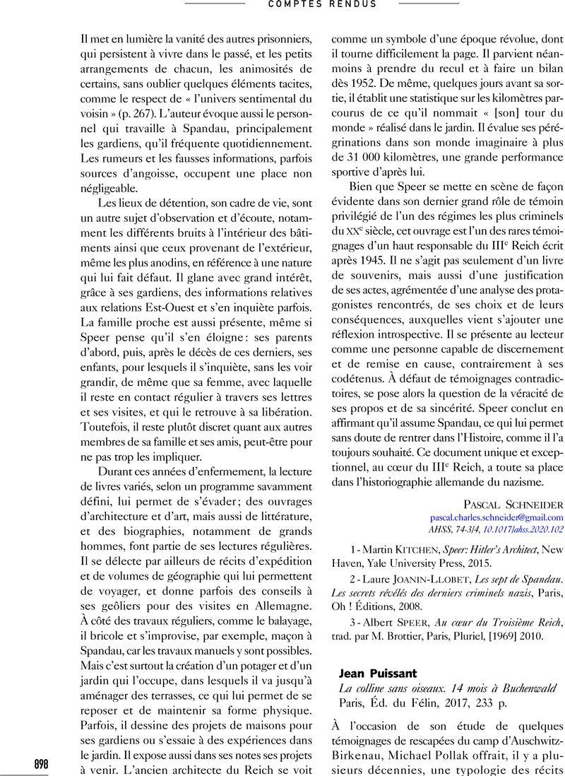 Jean Puissant La Colline Sans Oiseaux 14 Mois A Buchenwald Paris Ed Du Felin 2017 233 P Annales Histoire Sciences Sociales Cambridge Core