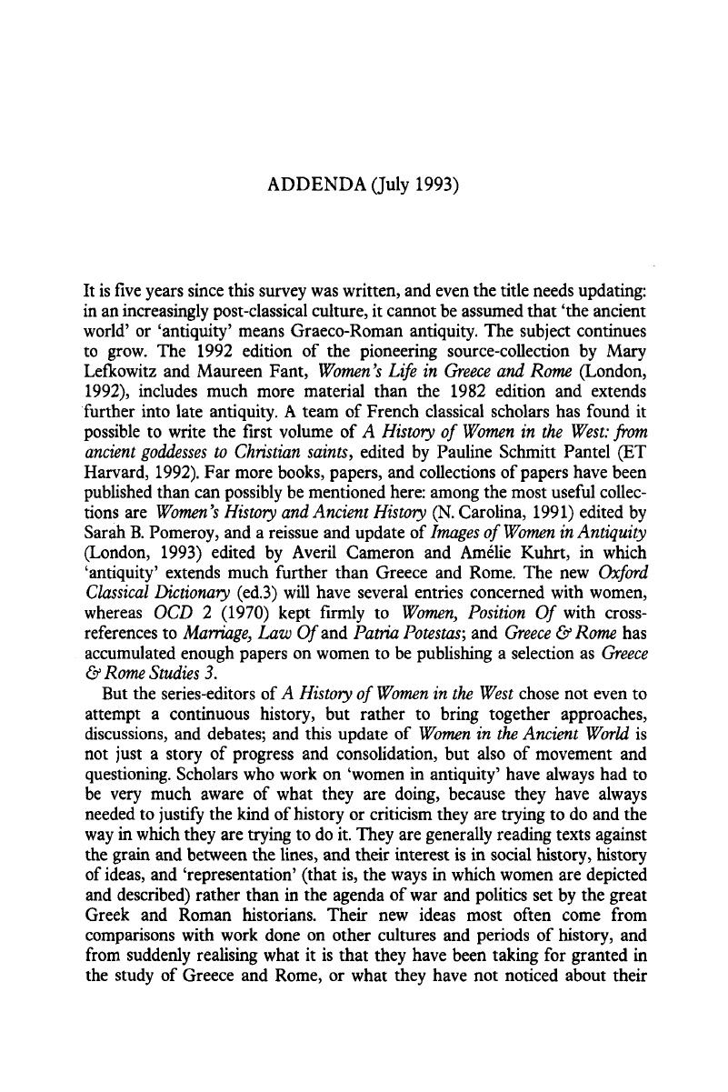 Addenda (July 1993) | New Surveys in the Classics
