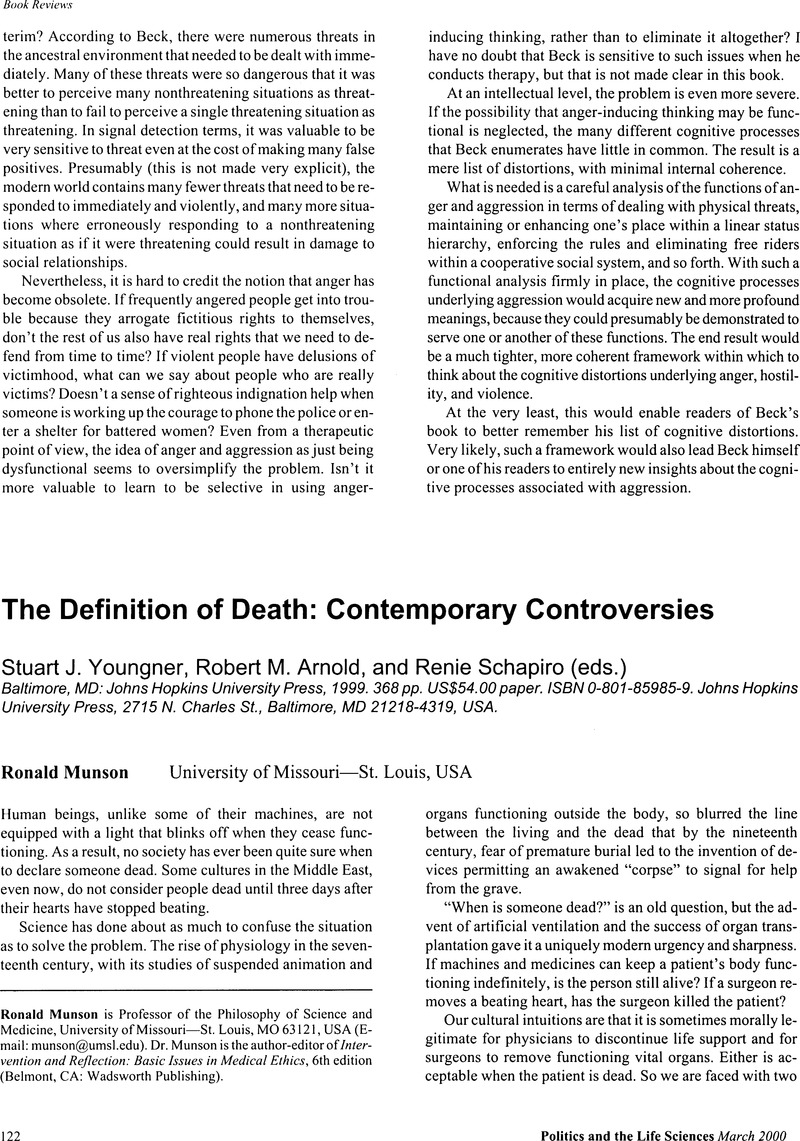 the definition of death: contemporary controversies - stuart j