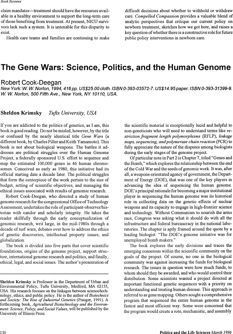 The Gene Wars: Science, Politics, and the Human Genome - Robert Cook