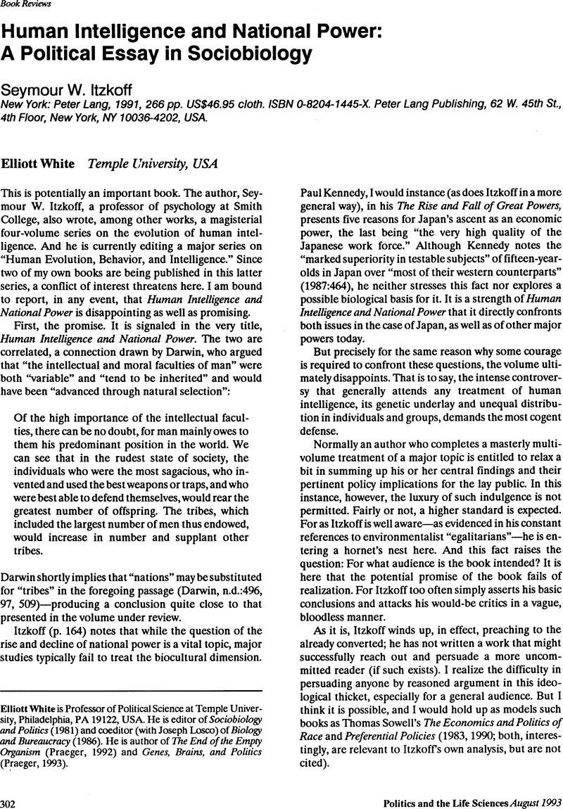 Thesis Examples In Essays Human Intelligence And National Power A Political Essay In Sociobiology   Seymour W Itzkoff New York Peter Lang   Pp Us Cloth Essay Writing Examples For High School also English Essay Papers Human Intelligence And National Power A Political Essay In  Example Of A Good Thesis Statement For An Essay