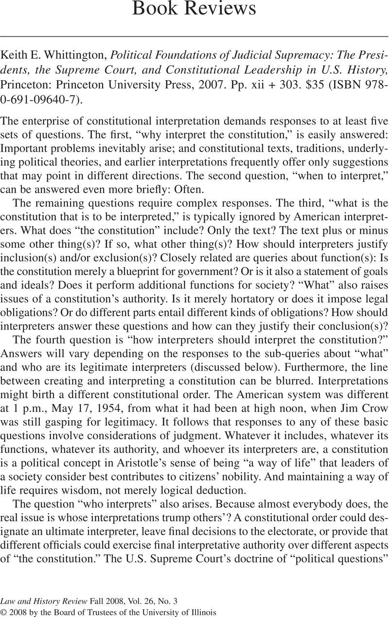 Keith E  Whittington, Political Foundations of Judicial