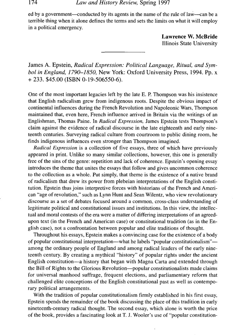 James A  Epstein, Radical Expression: Political Language