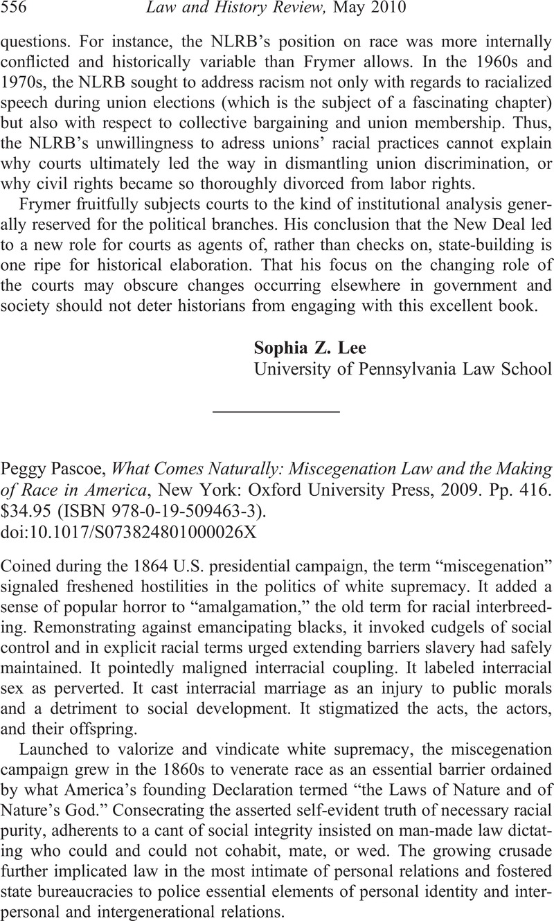 Peggy Pascoe What Comes Naturally Miscegenation Law And The Making Of Race In America New York Oxford University Press 2009 Pp 416 34 95 Isbn 978 0 19 509463 3 Law And History Review Cambridge Core
