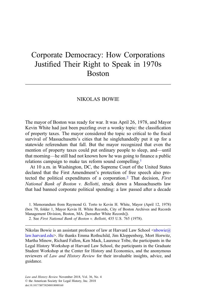 Corporate Democracy: How Corporations Justified Their Right