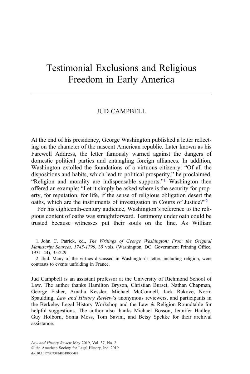Testimonial Exclusions and Religious Freedom in Early