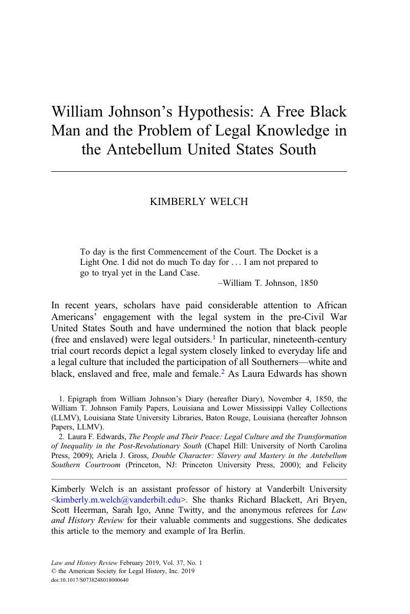 William Johnson's Hypothesis: A Free Black Man and the Problem of