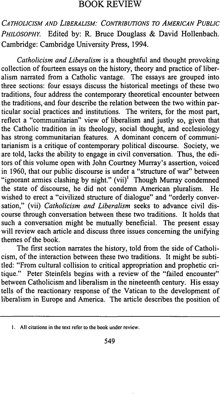 catholicism and liberalism hollenbach david douglass r bruce