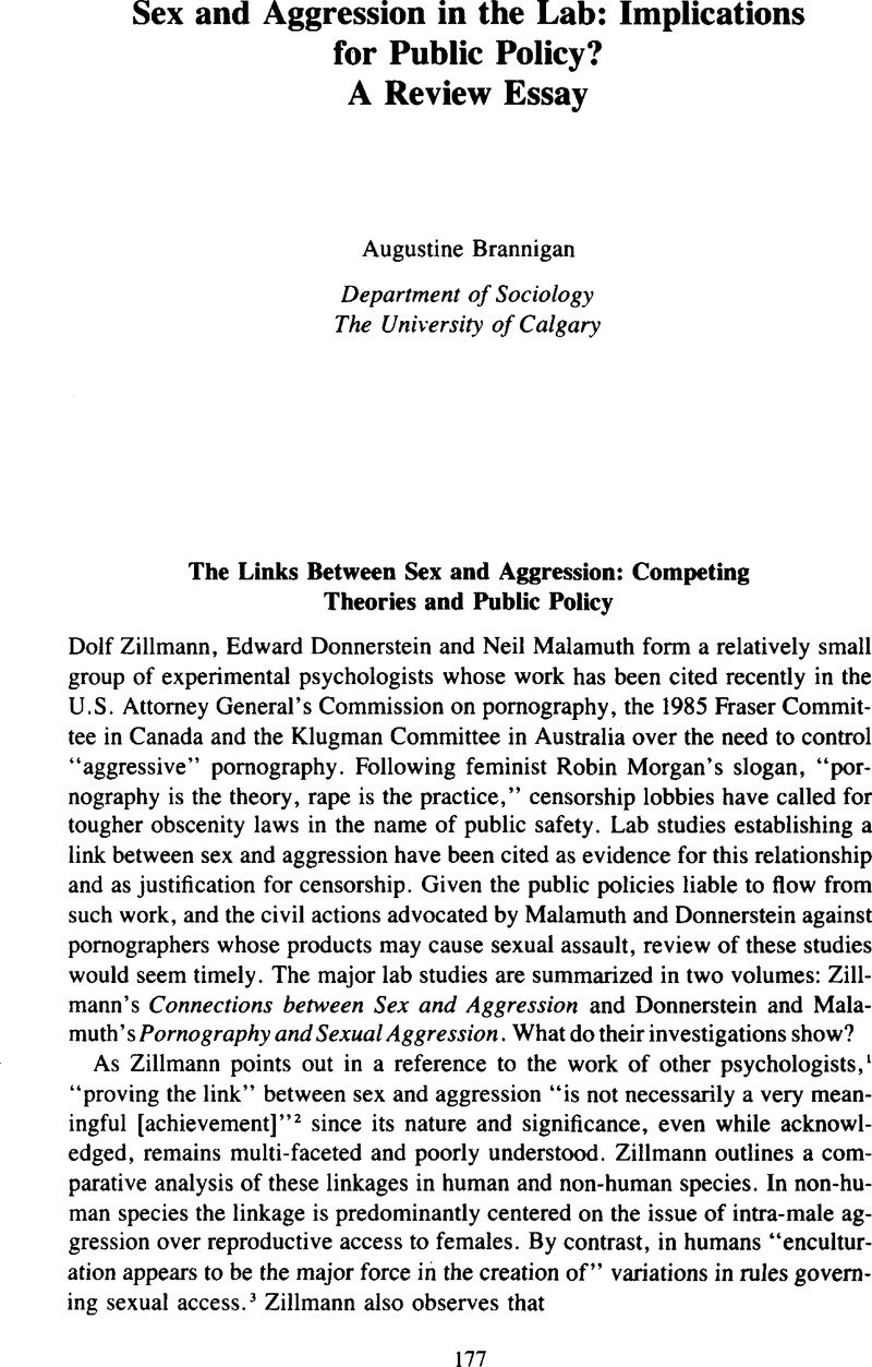 Sex And Aggression In The Lab Implications For Public Policy A  Notes Essays On Health Care also Essay About High School  Apa Style Essay Paper