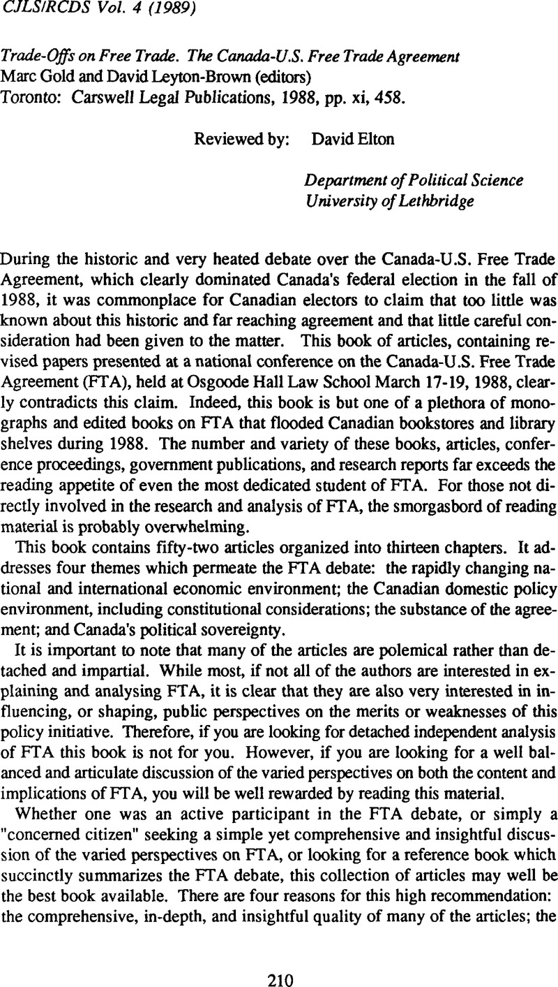 Trade offs on free trade the canada us free trade agreement marc trade offs on free trade the canada us free trade agreement marc gold and david leyton brown editors toronto carswell legal publications 1988 platinumwayz