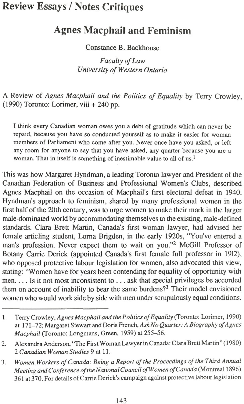 Agnes macphail and feminism canadian journal of law and society copyright solutioingenieria Images