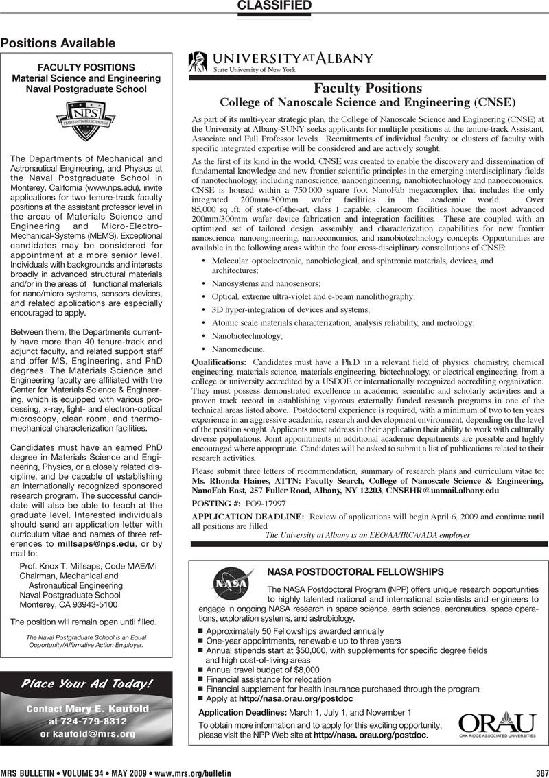 Classified | MRS Bulletin | Cambridge Core