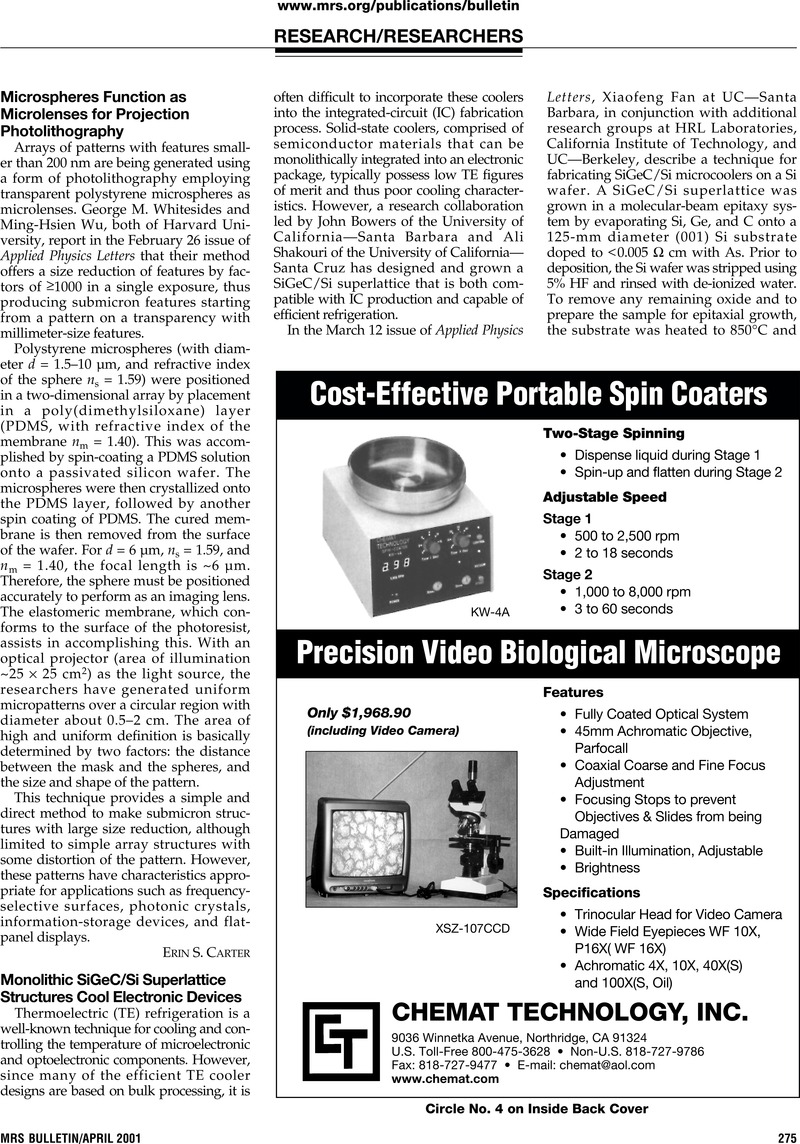 Microspheres Function As Microlenses For Projection Photolithography
