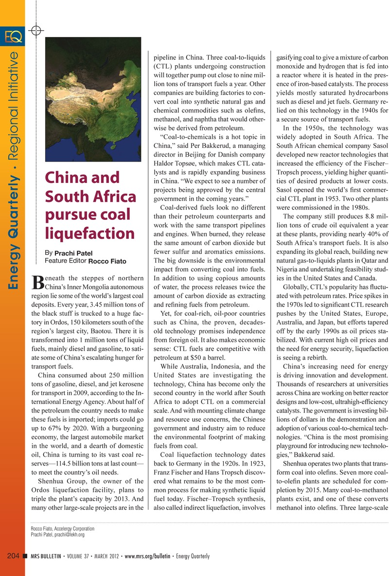China and South Africa pursue coal liquefaction | MRS Bulletin