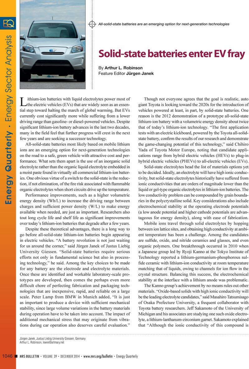 Solid-state batteries enter EV fray | MRS Bulletin
