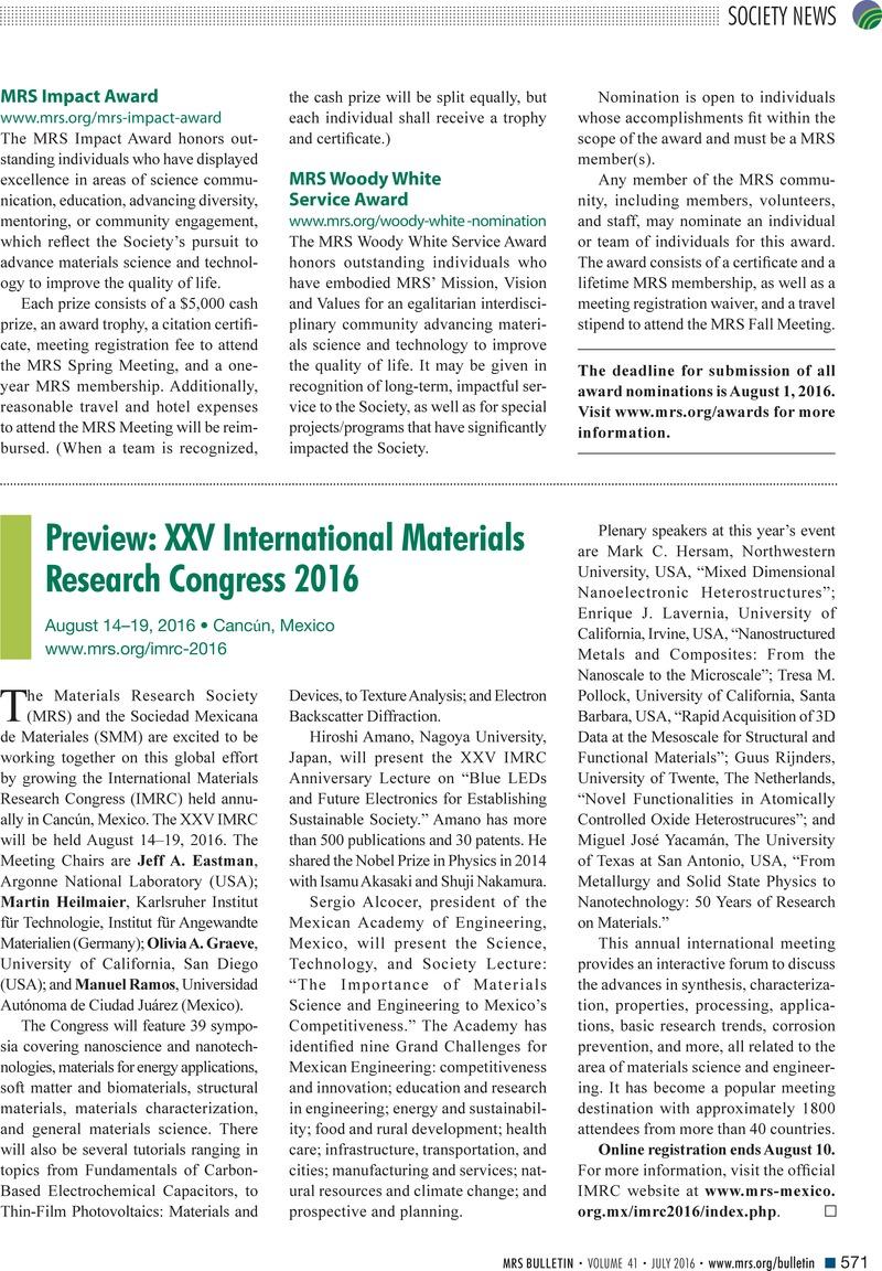 Preview: XXV International Materials Research Congress 2016