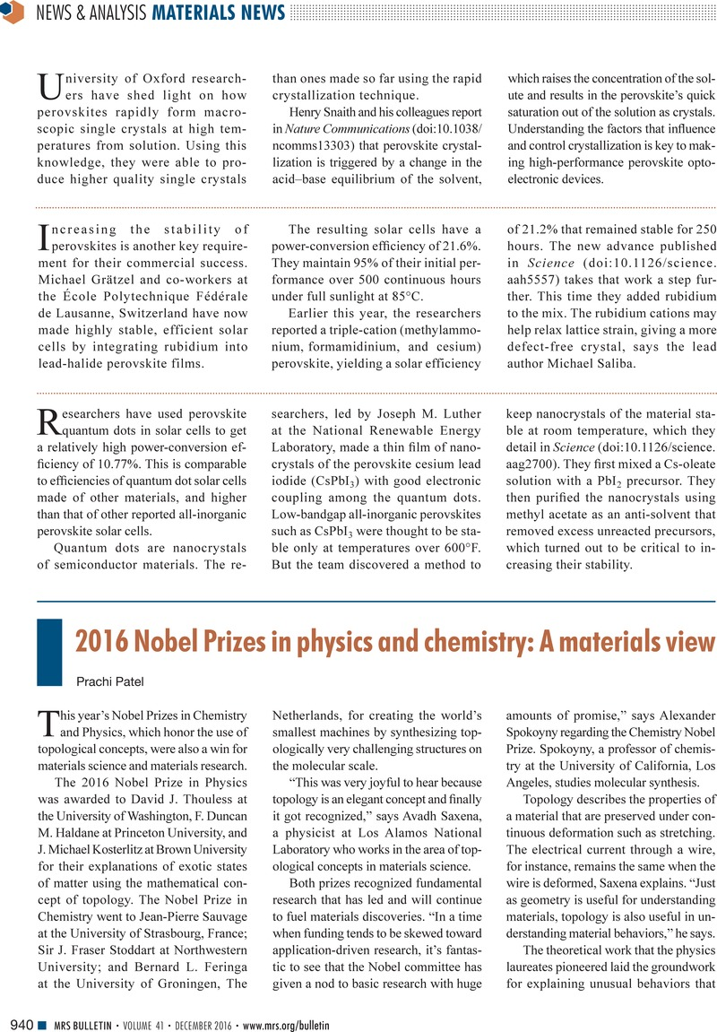 2016 Nobel Prizes In Physics And Chemistry A Materials View Mrs