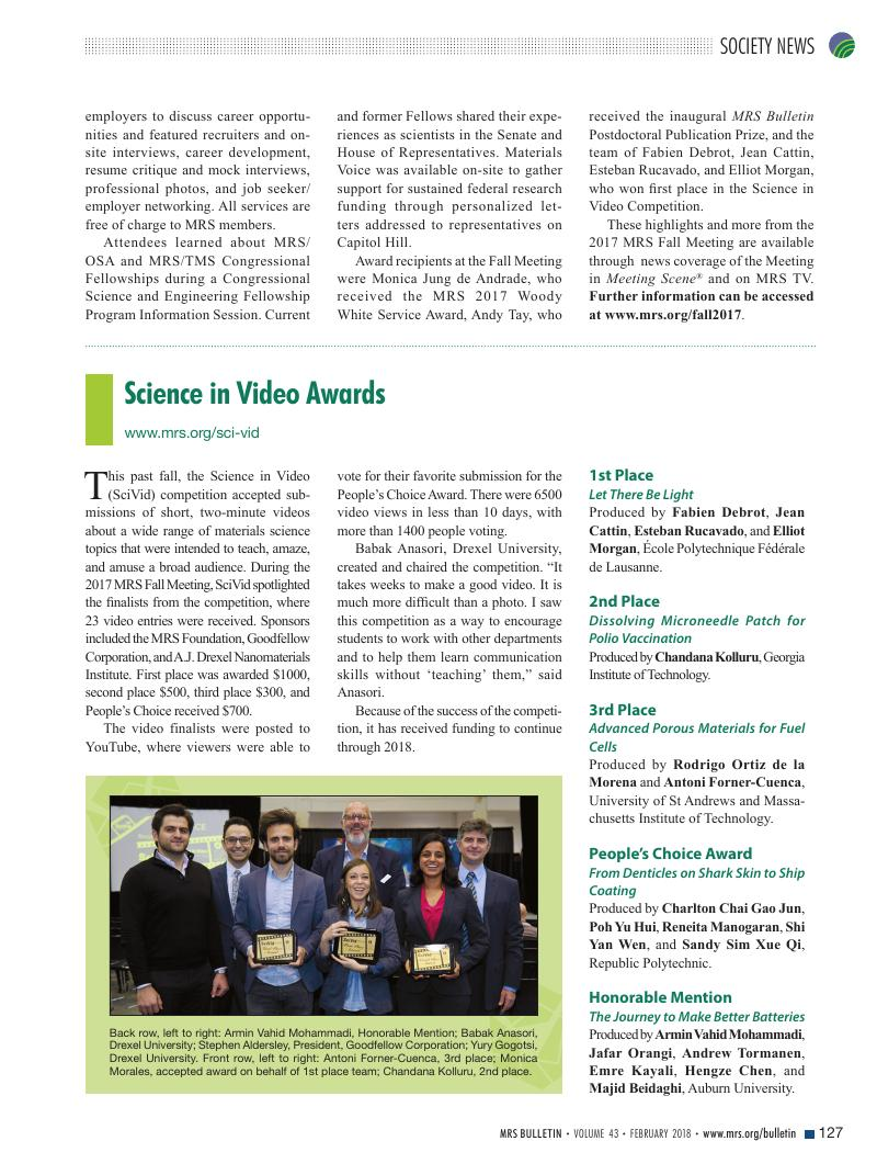 Science in Video Awards | MRS Bulletin | Cambridge Core