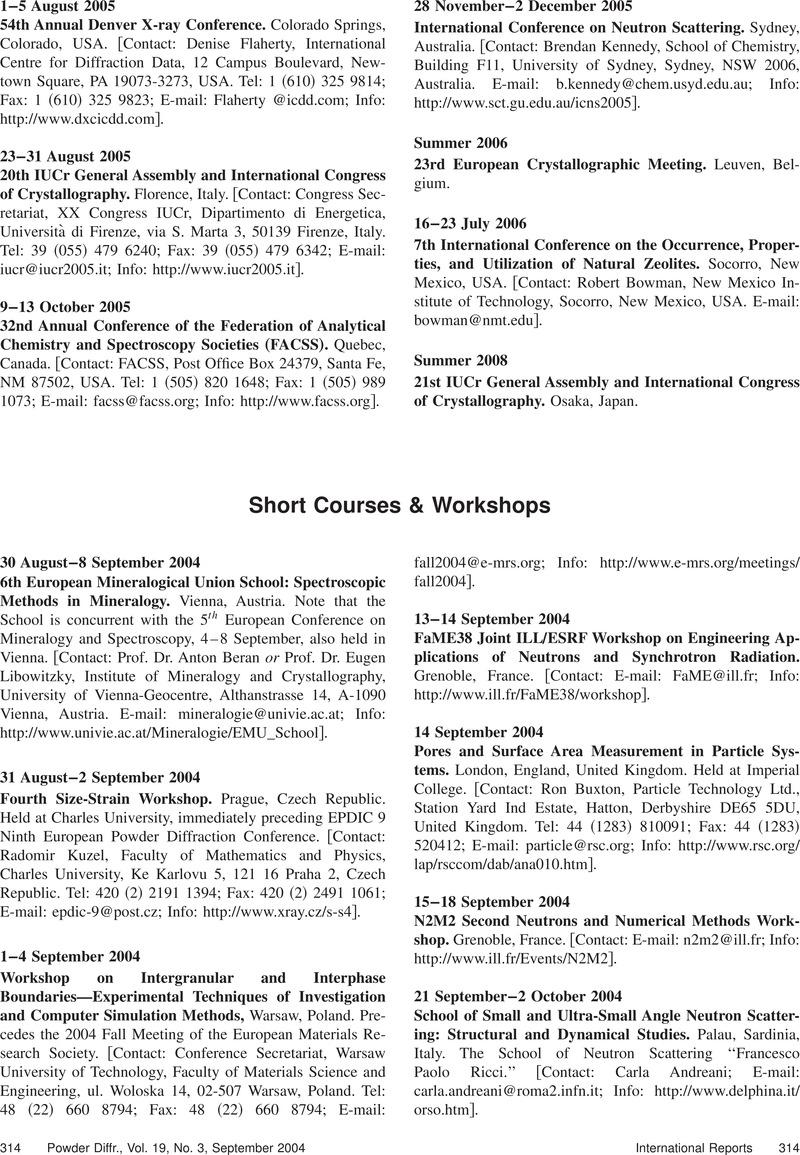 Short Courses & Workshops | Powder Diffraction | Cambridge Core