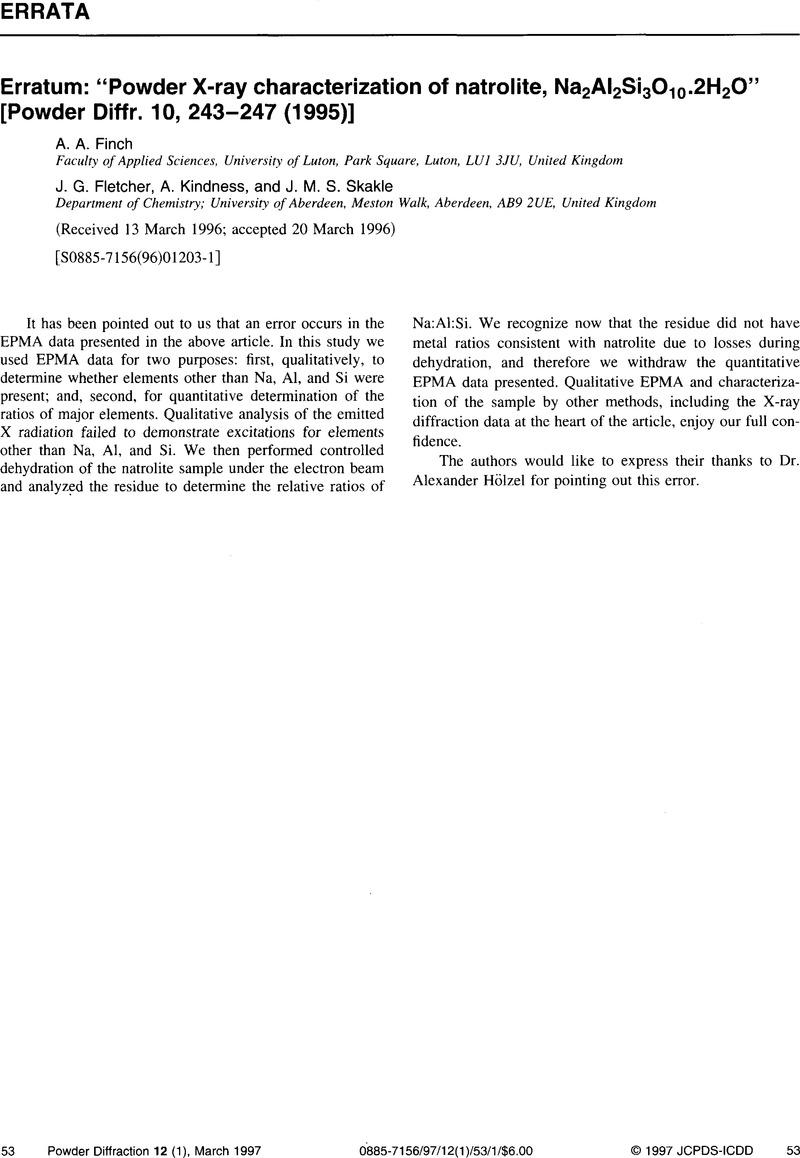 "Erratum: ""Powder X-ray characterization of natrolite"