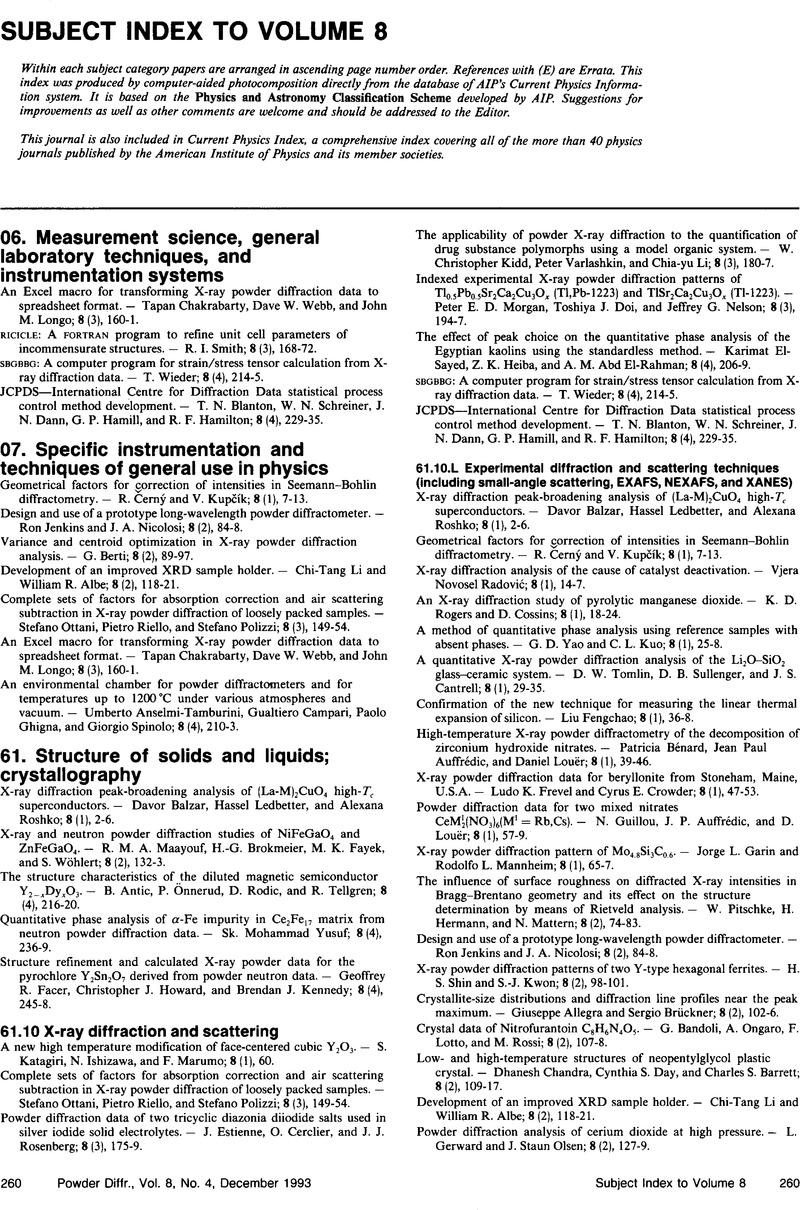 Subject Index to Volume 8   Powder Diffraction   Cambridge Core