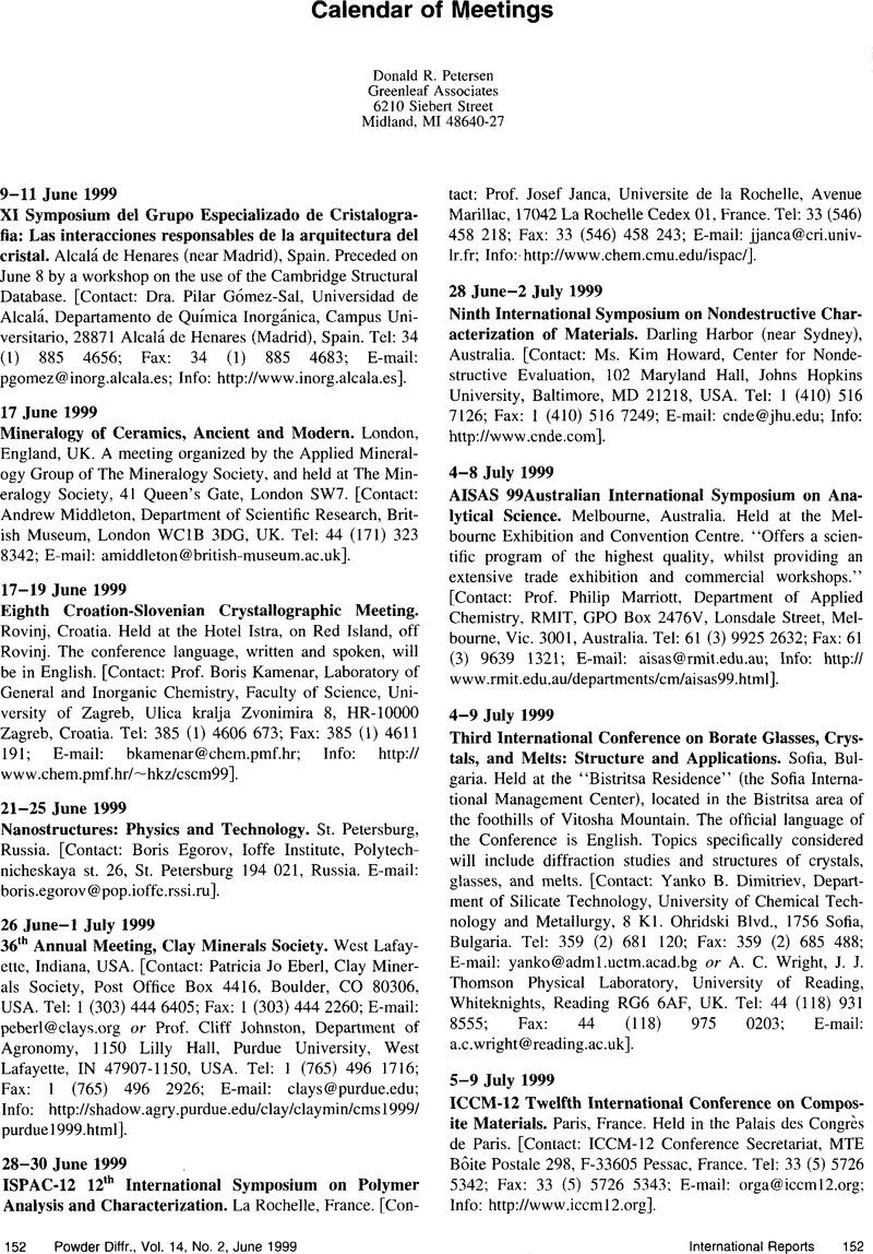Calendar Of Meetings Powder Diffraction Cambridge Core