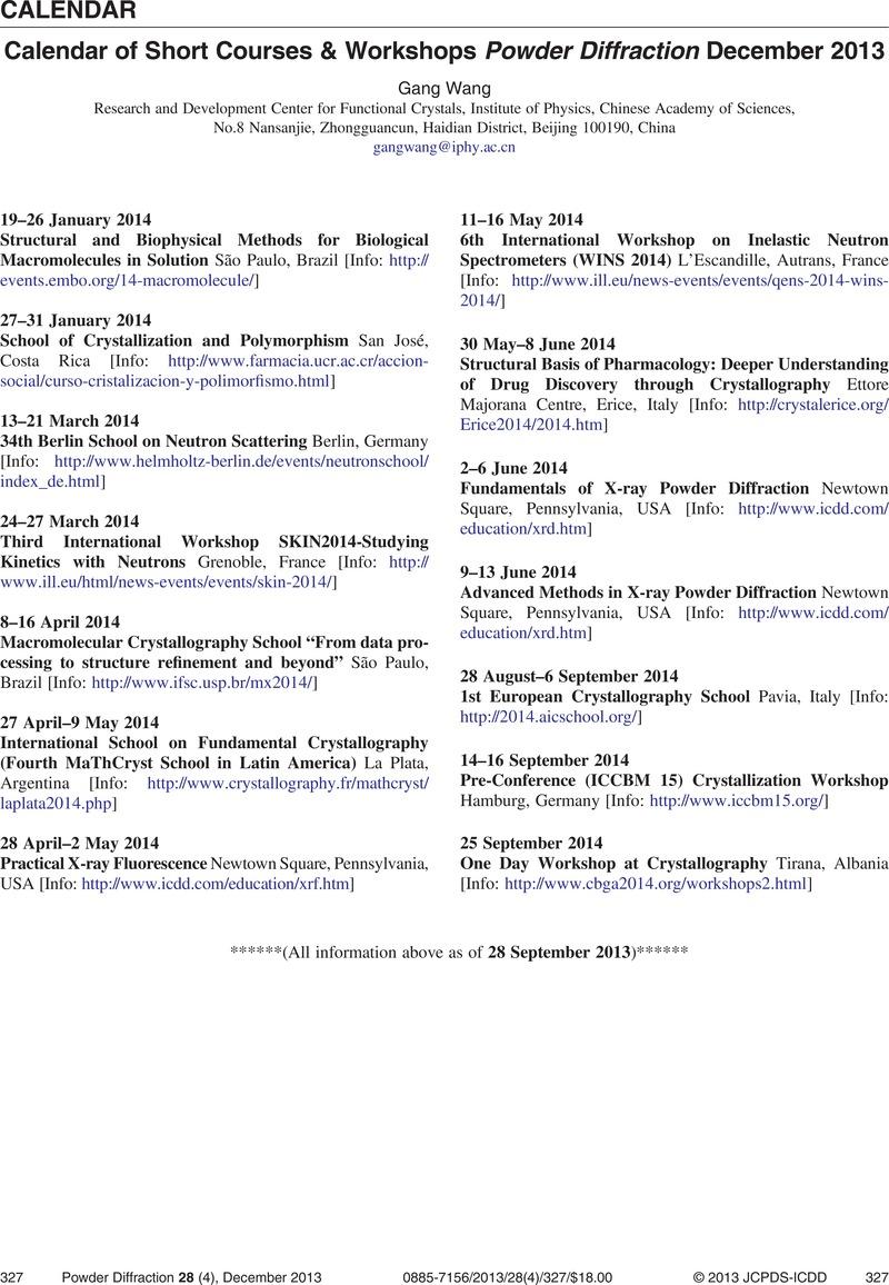 Calendar of Short Courses & Workshops Powder Diffraction December