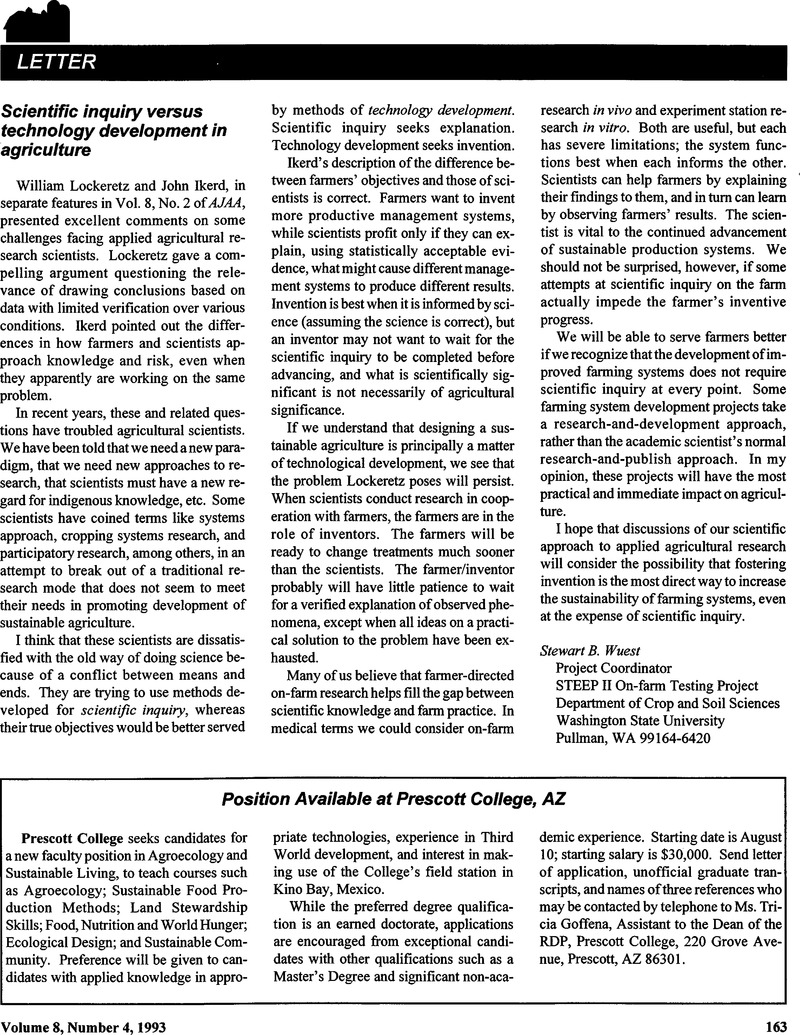 Scientific inquiry versus technology development in agriculture
