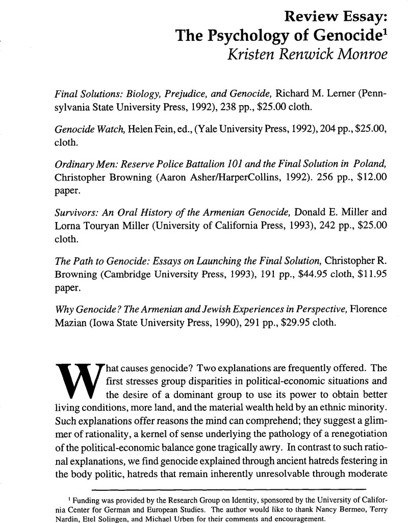 Review Essay The Psychology Of Genocide  Ethics  International  Copyright Example Of Essay Writing In English also Sociology Help  Essay About Health