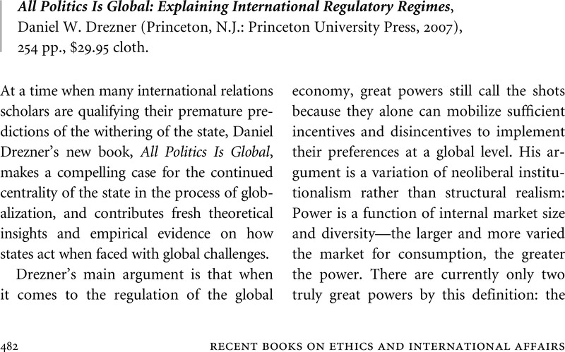all politics is global explaining international regulatory regimes